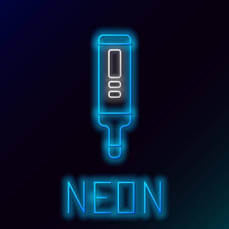 Blue glowing neon line Medical digital thermometer for medical examination icon isolated on black background. Colorful outline concept. Vector Illustration Stock Illustratie