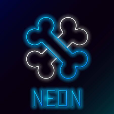 Blue glowing neon line Crossed bones icon isolated on black background. Pets food symbol. Colorful outline concept. Vector Illustration Illustration