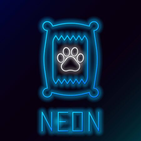 Blue glowing neon line Bag of food for dog icon isolated on black background. Dog or cat paw print. Food for animals. Pet food package. Colorful outline concept. Vector Illustration Standard-Bild - 133435995