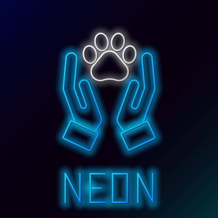 Blue glowing neon line Hands with animals footprint icon isolated on black background. Pet paw in heart. Love to the animals. Colorful outline concept. Vector Illustration
