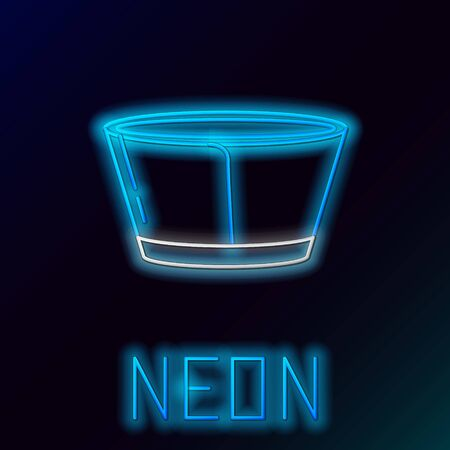 Blue glowing neon line Protective cone collar icon isolated on black background. Recovery pet cone. Cone for animal. Colorful outline concept. Vector Illustration