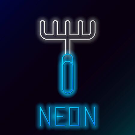 Blue glowing neon line Garden rake icon on black background. Tool for horticulture, agriculture, farming. Ground cultivator. Housekeeping equipment. Colorful outline concept. Vector Illustration