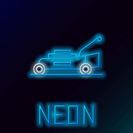 Blue glowing neon line Lawn mower icon isolated on black background. Lawn mower cutting grass. Colorful outline concept. Vector Illustration