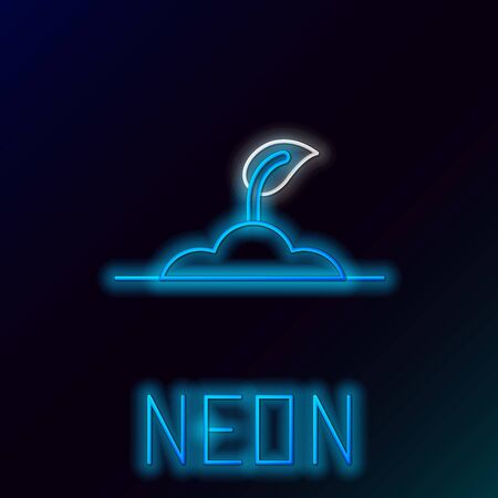 Blue glowing neon line Sprout icon isolated on black background. Seed and seedling. Leaves sign. Leaf nature. Colorful outline concept. Vector Illustration 일러스트