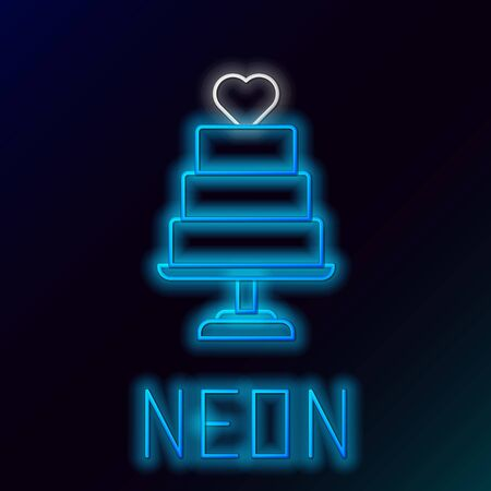 Blue glowing neon line Wedding cake with heart icon isolated on black background. Colorful outline concept. Vector Illustration