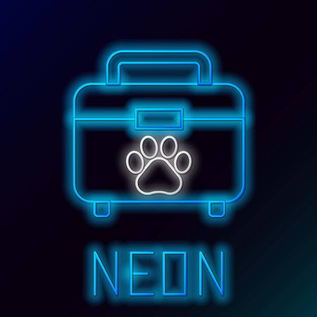 Blue glowing neon line Pet first aid kit icon isolated on black background. Dog or cat paw print. Clinic box. Colorful outline concept. Vector Illustration