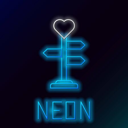 Blue glowing neon line Road traffic sign. Signpost with heart icon isolated on black background. Isolated street information sign. Direction sign. Colorful outline concept. Vector Illustration