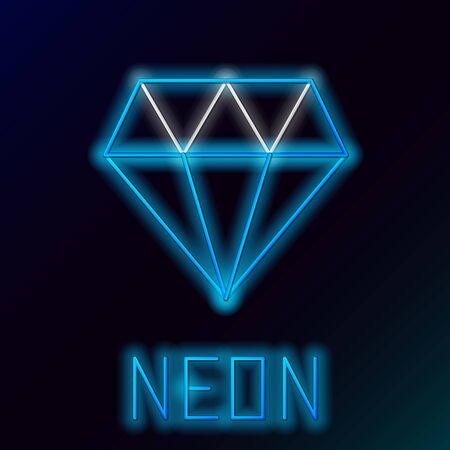 Blue glowing neon line Diamond icon isolated on black background. Jewelry symbol. Gem stone. Colorful outline concept. Vector Illustration