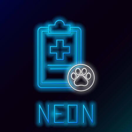 Blue glowing neon line Clipboard with medical clinical record pet icon isolated on black background. Health insurance form. Medical check marks report. Colorful outline concept. Vector Illustration