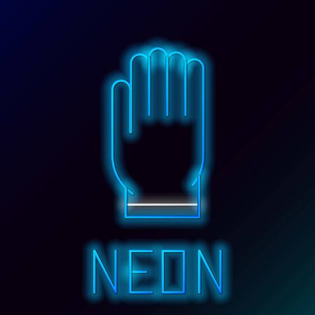 Blue glowing neon line Garden gloves icon isolated on black background. Rubber gauntlets sign. Farming hand protection, gloves safety. Colorful outline concept. Vector Illustration
