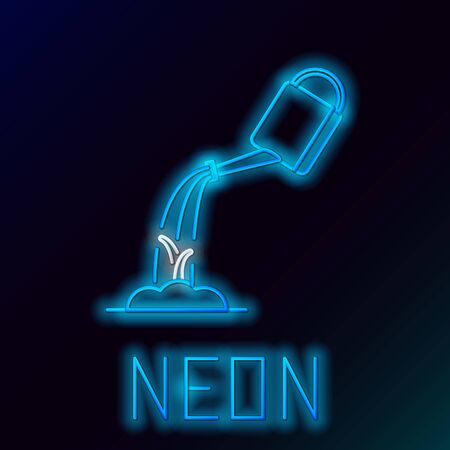 Blue glowing neon line Watering can with water icon isolated on black background. Watering a sprout. Irrigation symbol. Colorful outline concept. Vector Illustration