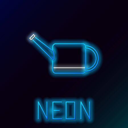 Blue glowing neon line Watering can icon isolated on black background. Irrigation symbol. Colorful outline concept. Vector Illustration