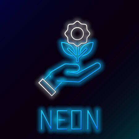 Blue glowing neon line Hand holding flower icon isolated on black background. Seed and seedling. Planting sapling. Ecology concept. Colorful outline concept. Vector Illustration Stock Illustratie