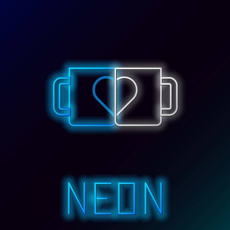 Blue glowing neon line Two coffee cup and heart icon isolated on black background. Couple coffee for lovers on Valentines Day. Colorful outline concept. Vector Illustration