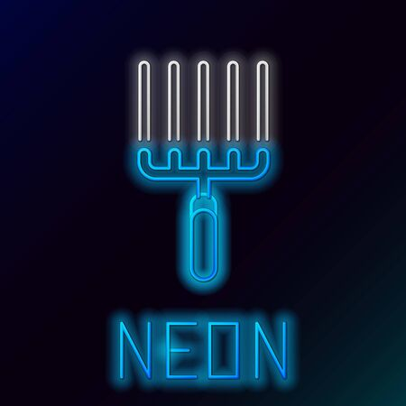 Blue glowing neon line Garden rake in work icon isolated on black background. Tool for horticulture, agriculture, farming. Ground cultivator. Colorful outline concept. Vector Illustration Ilustracja