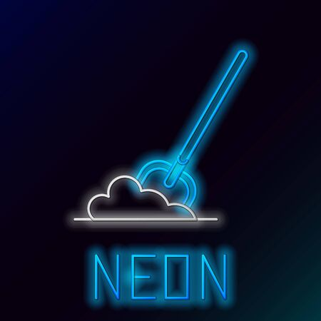Blue glowing neon line Shovel in the ground icon isolated on black background. Gardening tool. Tool for horticulture, agriculture, farming. Colorful outline concept. Vector Illustration