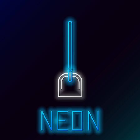 Blue glowing neon line Shovel icon isolated on black background. Gardening tool. Tool for horticulture, agriculture, farming. Colorful outline concept. Vector Illustration