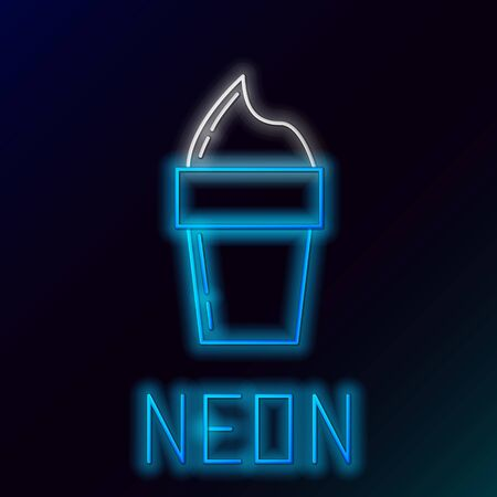Blue glowing neon line Ice cream in waffle cone icon isolated on black background. Sweet symbol. Colorful outline concept. Vector Illustration