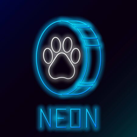 Blue glowing neon line Paw print icon isolated on black background. Dog or cat paw print. Animal track. Colorful outline concept. Vector Illustration Standard-Bild - 133447221