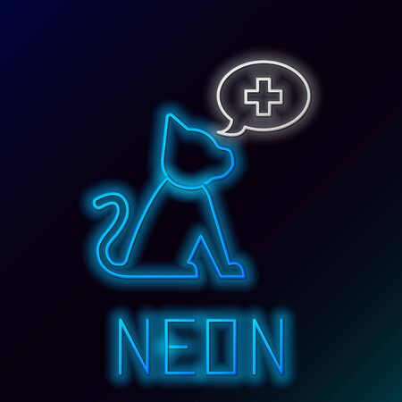Blue glowing neon line Veterinary clinic symbol icon isolated on black background. Cross with cat veterinary care. Pet First Aid sign. Colorful outline concept. Vector Illustration