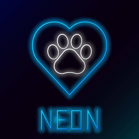 Blue glowing neon line Heart with animals footprint icon isolated on black background. Pet paw in heart. Love to the animals. Colorful outline concept. Vector Illustration