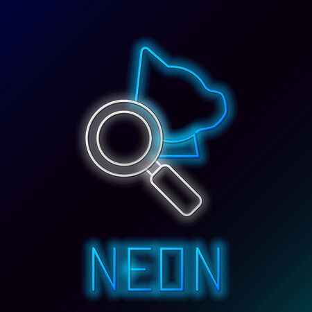 Blue glowing neon line Veterinary clinic symbol icon isolated on black background. Magnifying glass with cat veterinary care. Pet First Aid sign. Colorful outline concept. Vector Illustration