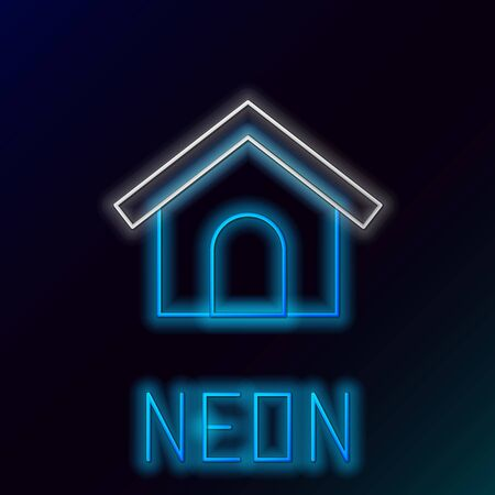 Blue glowing neon line Dog house icon isolated on black background. Dog kennel. Colorful outline concept. Vector Illustration Ilustrace