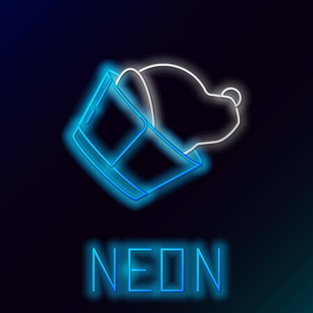 Blue glowing neon line Veterinary clinic symbol icon isolated on black background. Dog veterinary care. Pet First Aid sign. Colorful outline concept. Vector Illustration