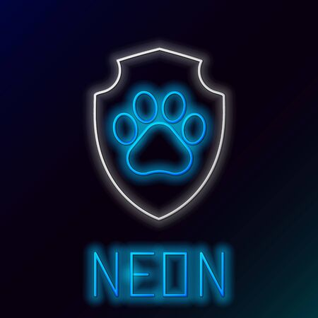 Blue glowing neon line Animal health insurance icon isolated on black background. Pet protection icon. Dog or cat paw print. Colorful outline concept. Vector Illustration