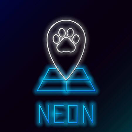 Blue glowing neon line Map pointer with veterinary medicine hospital, clinic or pet shop for animals icon on black background. Veterinarian clinic. Colorful outline concept. Vector Illustration