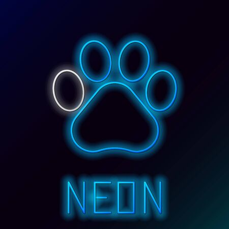 Blue glowing neon line Paw print icon isolated on black background. Dog or cat paw print. Animal track. Colorful outline concept. Vector Illustration Illustration