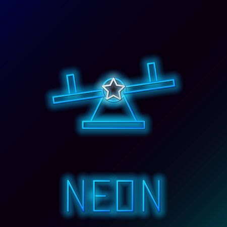 Blue glowing neon line Seesaw icon isolated on black background. Teeter equal board. Playground symbol. Colorful outline concept. Vector Illustration Ilustracja