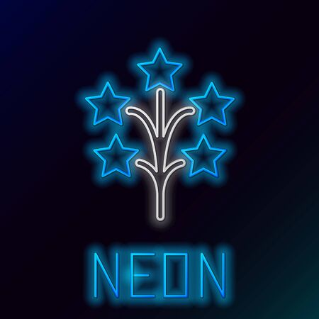 Blue glowing neon line Fireworks icon isolated on black background. Concept of fun party. Explosive pyrotechnic symbol. Colorful outline concept. Vector Illustration