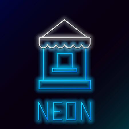 Blue glowing neon line Ticket box office icon isolated on black background. Ticket booth for the sale of tickets for attractions and sports. Colorful outline concept. Vector Illustration