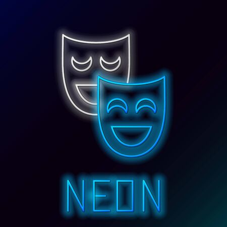Blue glowing neon line Comedy theatrical masks icon isolated on black background. Colorful outline concept. Vector Illustration