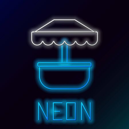 Blue glowing neon line Attraction carousel icon isolated on black background. Amusement park. Childrens entertainment playground, recreation park. Colorful outline concept. Vector Illustration