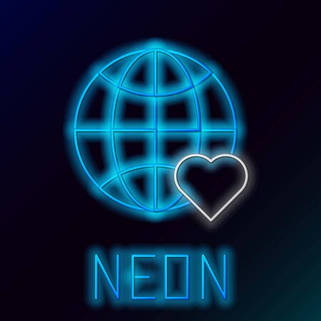 Blue glowing neon line The heart world - love icon isolated on black background. Colorful outline concept. Vector Illustration Stock Illustratie
