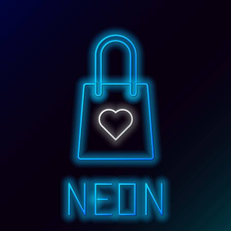 Blue glowing neon line Shopping bag with heart icon isolated on black background. Shopping bag shop love like heart icon. Valentines day symbol. Colorful outline concept. Vector Illustration