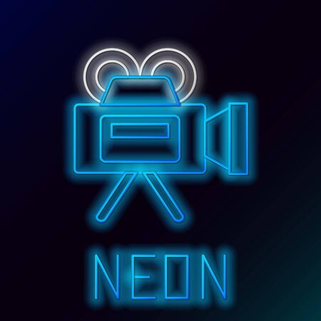 Blue glowing neon line Cinema camera icon isolated on black background. Video camera. Movie sign. Film projector. Colorful outline concept. Vector Illustration