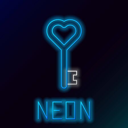 Blue glowing neon line Key in heart shape icon isolated on black background. Colorful outline concept. Vector Illustration Standard-Bild - 133447255