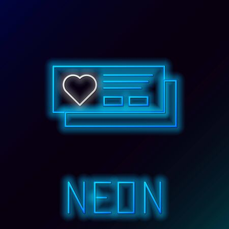 Blue glowing neon line Ticket with heart icon isolated on black background. Boarding pass with heart. Colorful outline concept. Vector Illustration Stock Illustratie