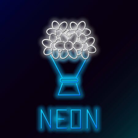 Blue glowing neon line Bouquet of flowers icon isolated on black background. Colorful outline concept. Vector Illustration Standard-Bild - 133447260