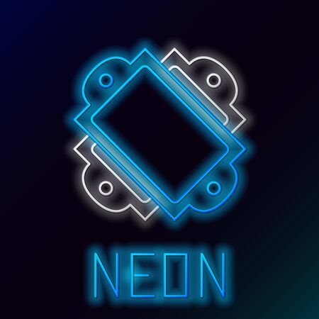 Blue glowing neon line Ticket icon isolated on black background. Amusement park. Colorful outline concept. Vector Illustration Illusztráció