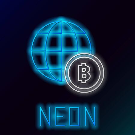 Blue glowing neon line Globe and cryptocurrency coin Bitcoin icon on black background. Physical bit coin. Blockchain based secure crypto currency. Colorful outline concept. Vector Illustration