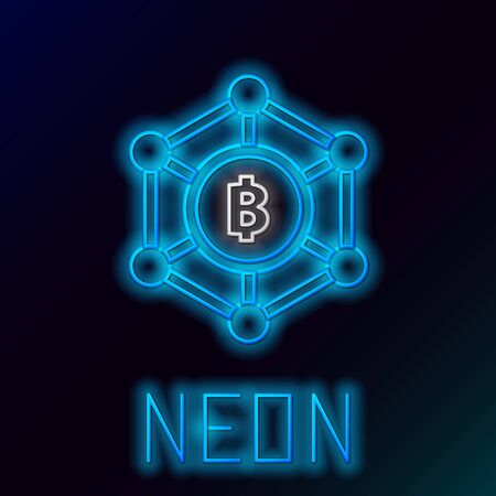 Blue glowing neon line Blockchain technology Bitcoin icon on black background. Abstract geometric block chain network technology business. Colorful outline concept. Vector Illustration