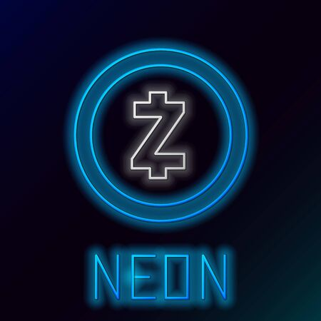 Blue glowing neon line Cryptocurrency coin Zcash ZEC icon on black background. Digital currency. Altcoin symbol. Blockchain based secure crypto currency. Colorful outline concept. Vector Illustration