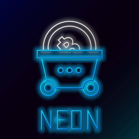 Blue glowing neon line Shopping basket with bitcoin icon on black background. Blockchain technology, cryptocurrency mining, digital money market. Colorful outline concept. Vector Illustration