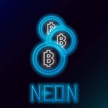 Blue glowing neon line Cryptocurrency coin Bitcoin icon on black background. Physical bit coin. Blockchain based secure crypto currency. Colorful outline concept. Vector Illustration Stock Illustratie