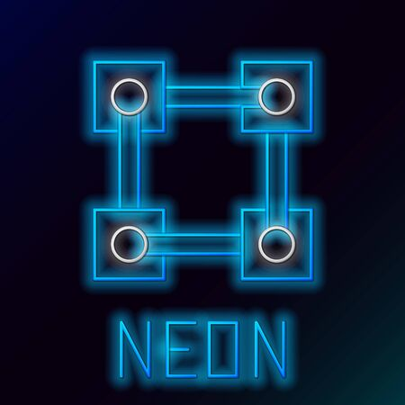 Blue glowing neon line Blockchain technology icon on black background. Cryptocurrency data. Abstract geometric block chain network technology business. Colorful outline concept. Vector Illustration 일러스트