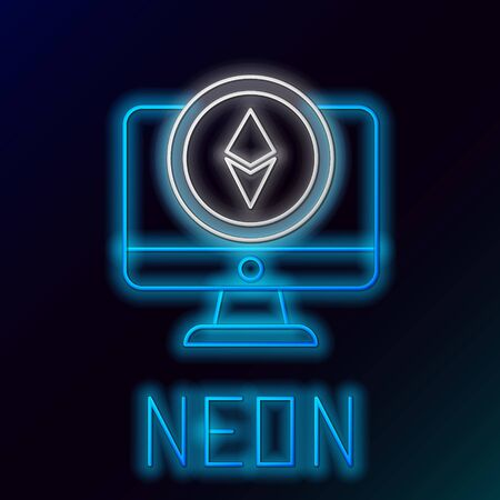 Blue glowing neon line Monitor and Cryptocurrency coin Ethereum ETH icon on black background. Altcoin symbol. Blockchain based secure crypto currency. Colorful outline concept. Vector Illustration